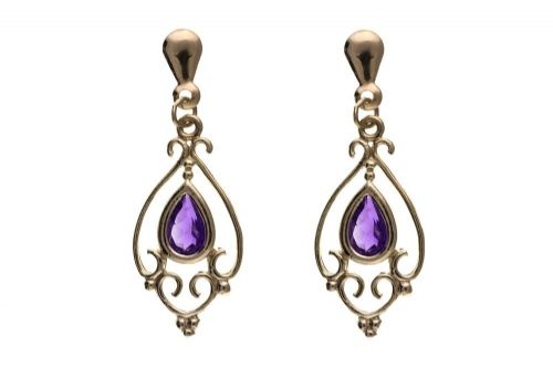 9 Carat Yellow Gold Amethyst Filigree Drop Earrings